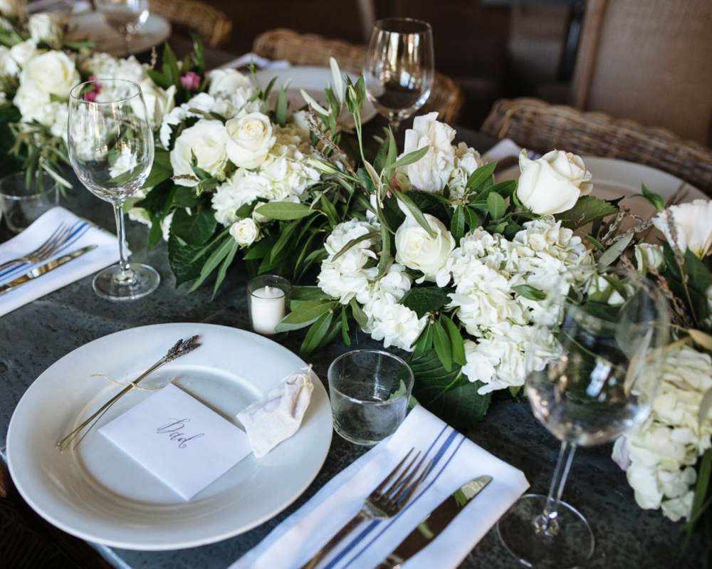 Place Setting & Garland- Maxit Flower Design- Houston Events