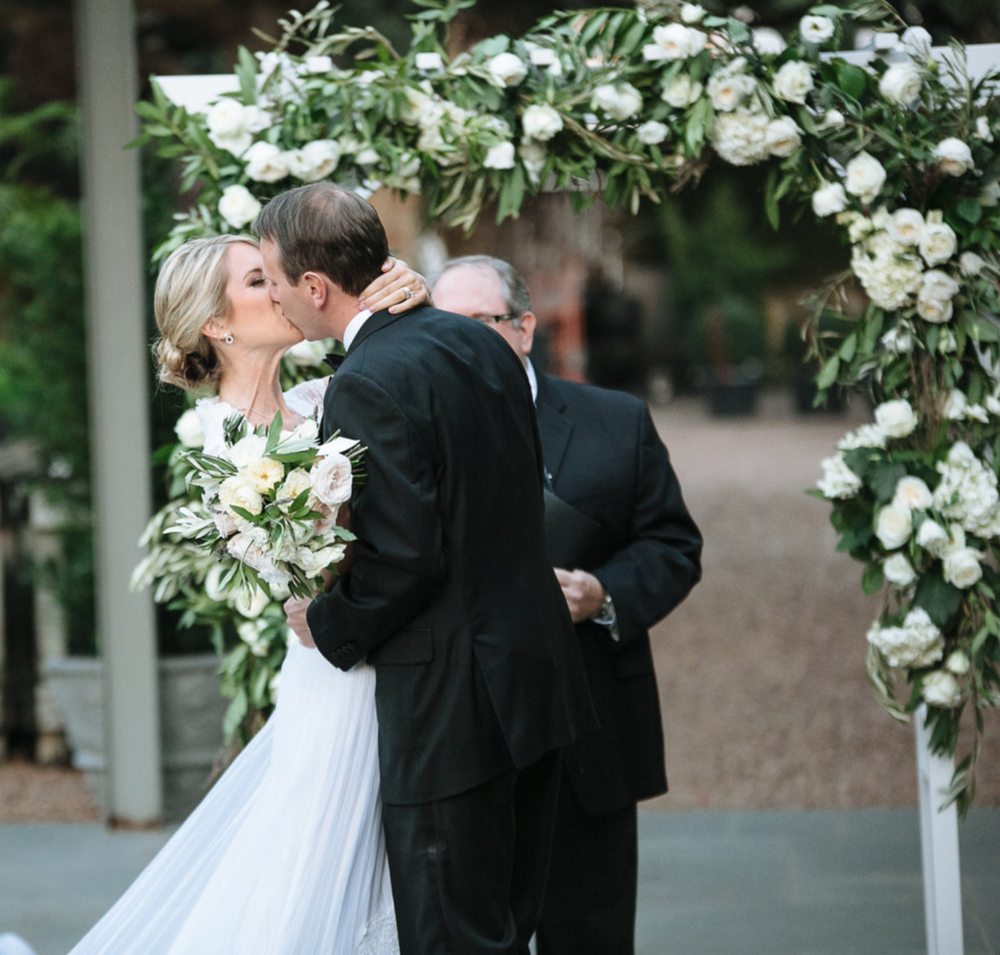 First Kiss- Archway- Maxit Flower Design- Houston Weddings
