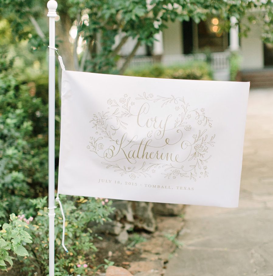 Flag- Hand Lettering- Houston Weddings- Maxit Flower Design