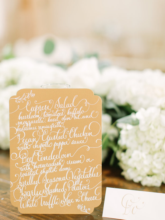 Hand Lettering Menu- Houston Weddings- Maxit Flower Design