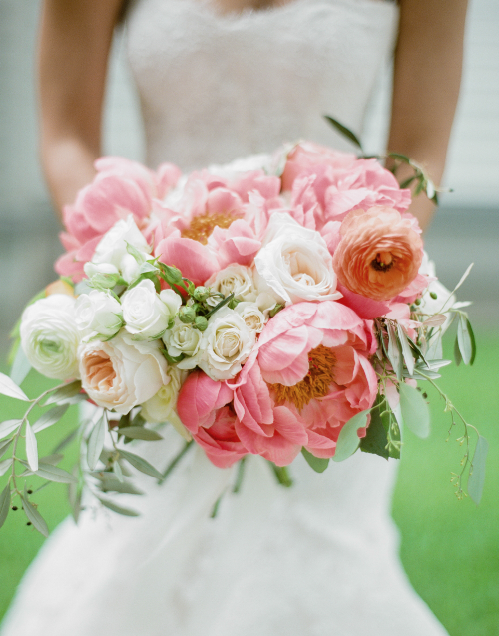 Bridal Bouquet with pink peonies, blush roses, ranunculus, greenery by Maxit Flower Design in Houston, TX