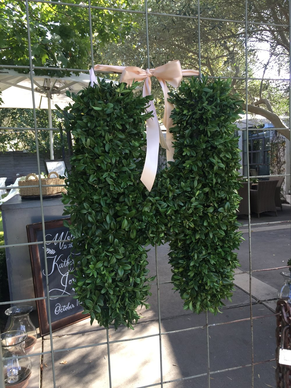 Tiny Boxwoods Houston Wedding Maxit Flower Design Boxwood Letter.JPG