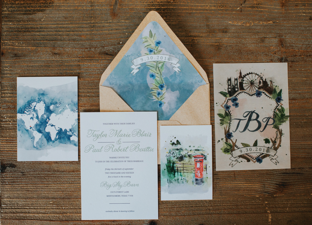 Pretty and personal invitation suite.
