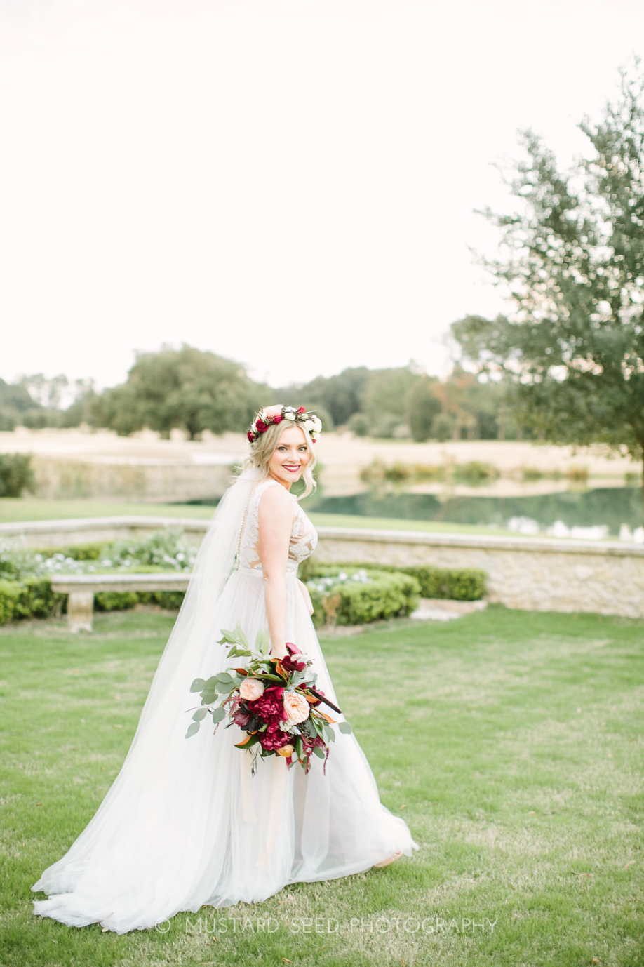 Bridal Bouquet and Floral Crown on bride at Houston Oaks Country Club