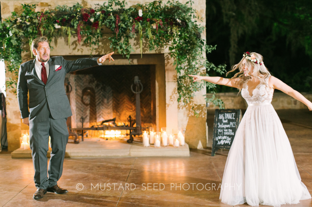 Father Daughter Dance in front of the fireplace at Houston Oaks Garden Club