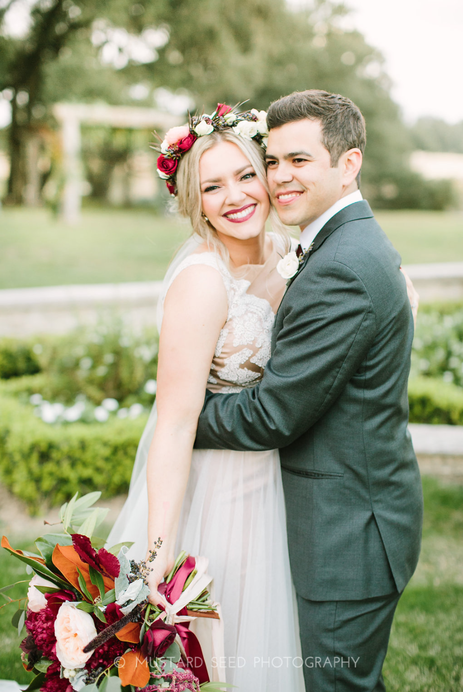 All smiles from the newlyweds. Bridal Bouquet & Flower Crown by Maxit Flower Design in Houston, TX.