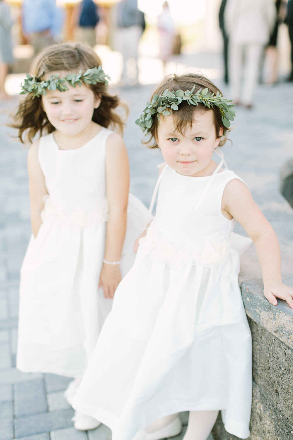 flower girls with greenery crowns by maxit flower design in houston texas