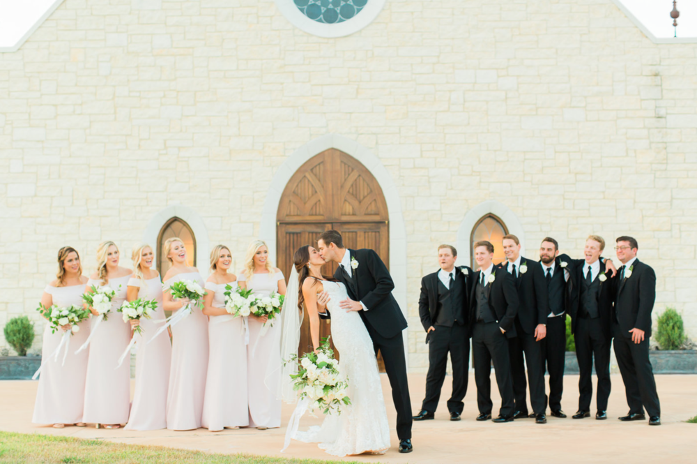 bridal-party-kiss-white-blush-greenery-chapel-florals-by-maxit-flower-design-in-houston-texas