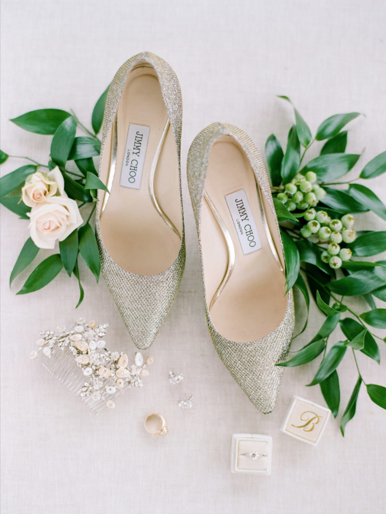 wedding-details-photography-dana-fernadez-jimmy-choo-shoes-bridal-ring-glam-floral-greenery-by-maxit-flower-design-houston-texas
