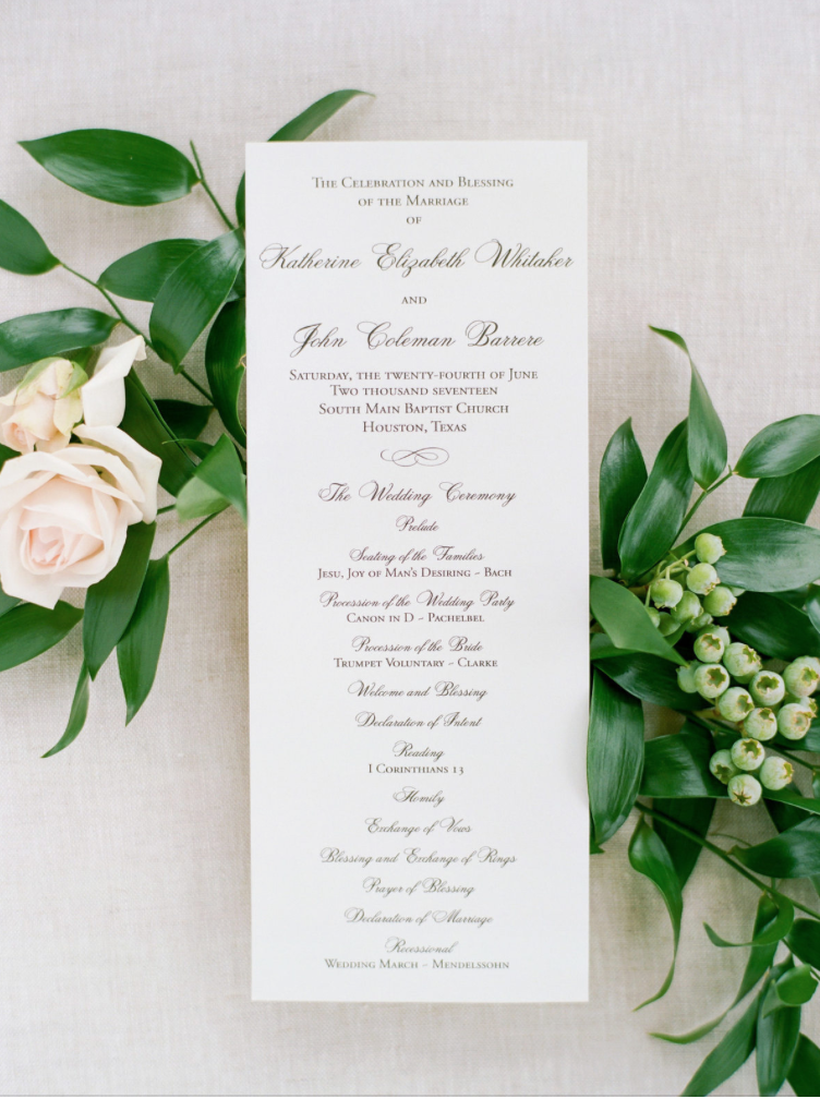 wedding-details-photography-dana-fernadez-calligraphy-paper-program-floral-greenery-by-maxit-flower-design-houston-texas