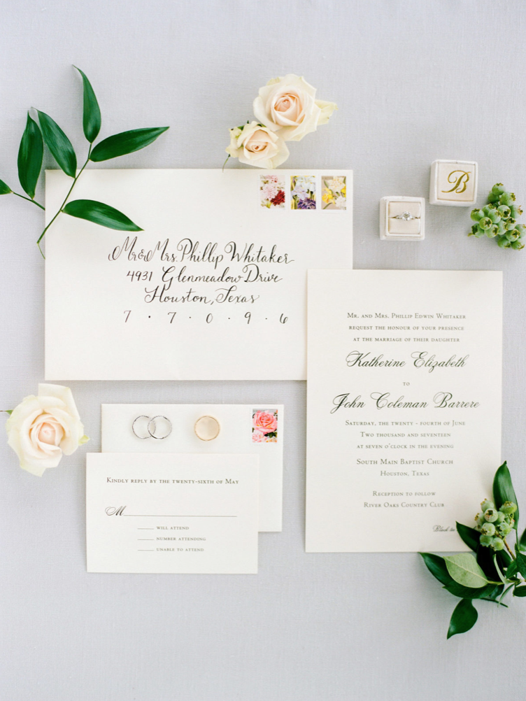 wedding-details-photography-dana-fernadez-invitation-suite-calligraphy-stamps-mrs-box-rings-floral-greenery-by-maxit-flower-design-houston-texas
