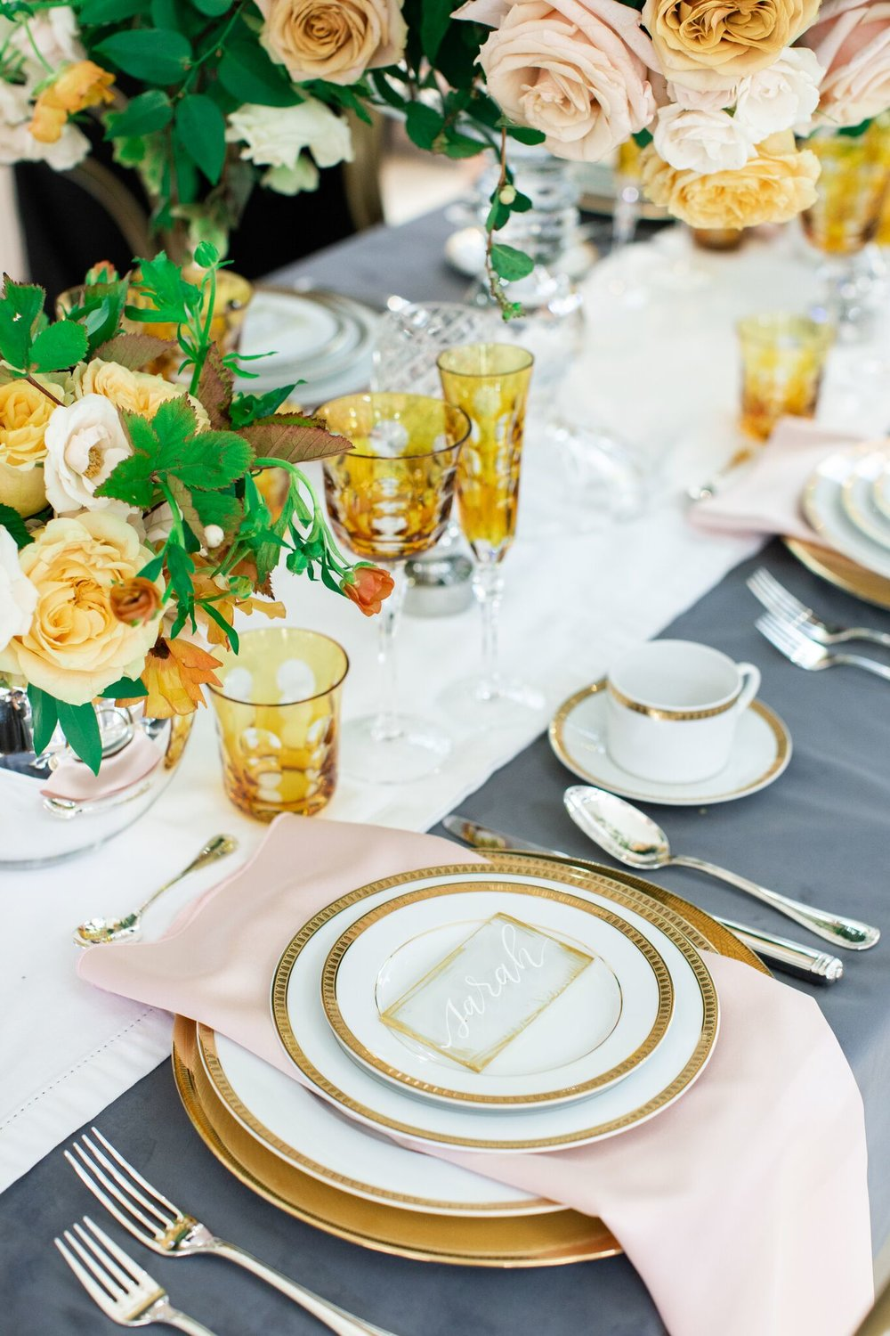Christofle 2019 gold china. Designed by Marie Flanigan Interiors.