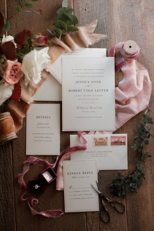 Styled wedding invitation, Houston Oaks Country Club, Alyssa Meeks Event Planner, Silhouette Studios Photography