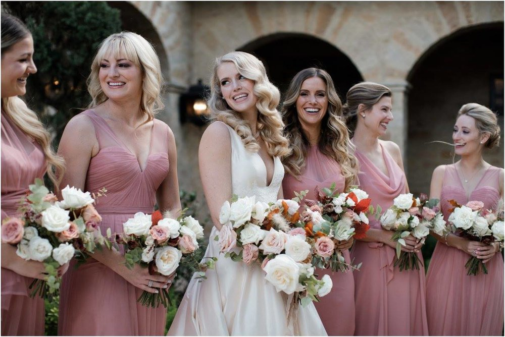 Bridal bouquet and bridesmaids by Maxit Flower Design, Houston Oaks Country Club, Alyssa Meeks Event Planner, Silhouette Studios Photography