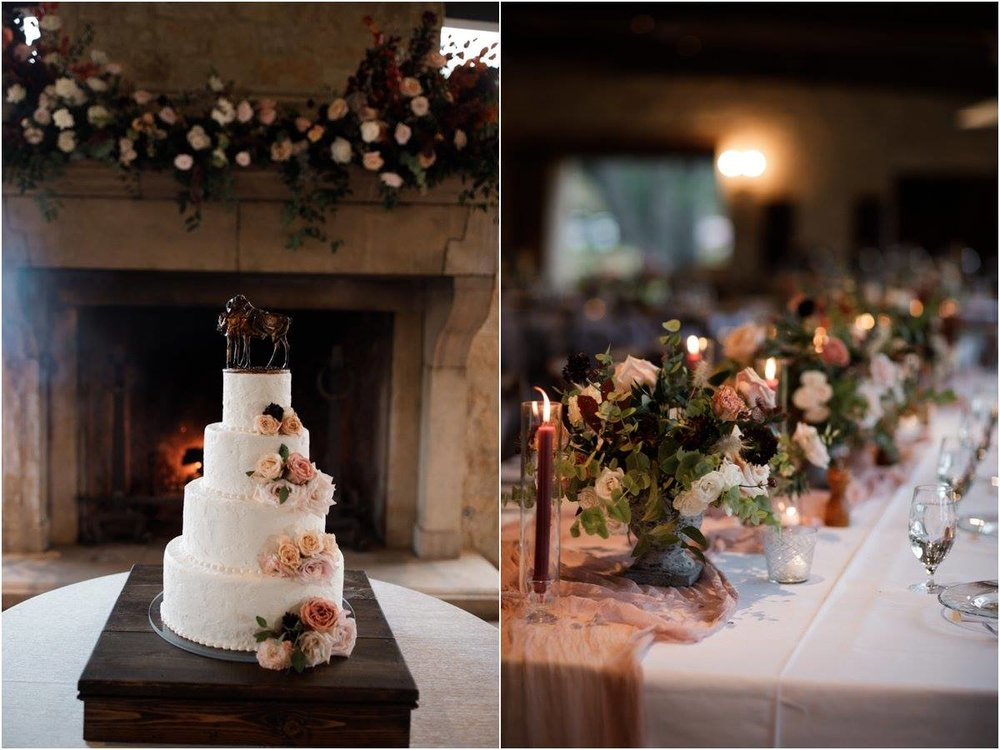 Cake flowers, fire place mantle flowers, garden compote centerpieces, taper candles, by Maxit Flower Design, Houston Oaks Country Club, Alyssa Meeks Event Planner, Silhouette Studios Photography