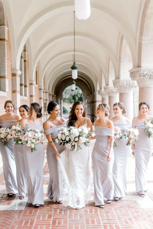 Bride and her bridesmaids, shot by Josh and Dana Fernandez inside Rice University.