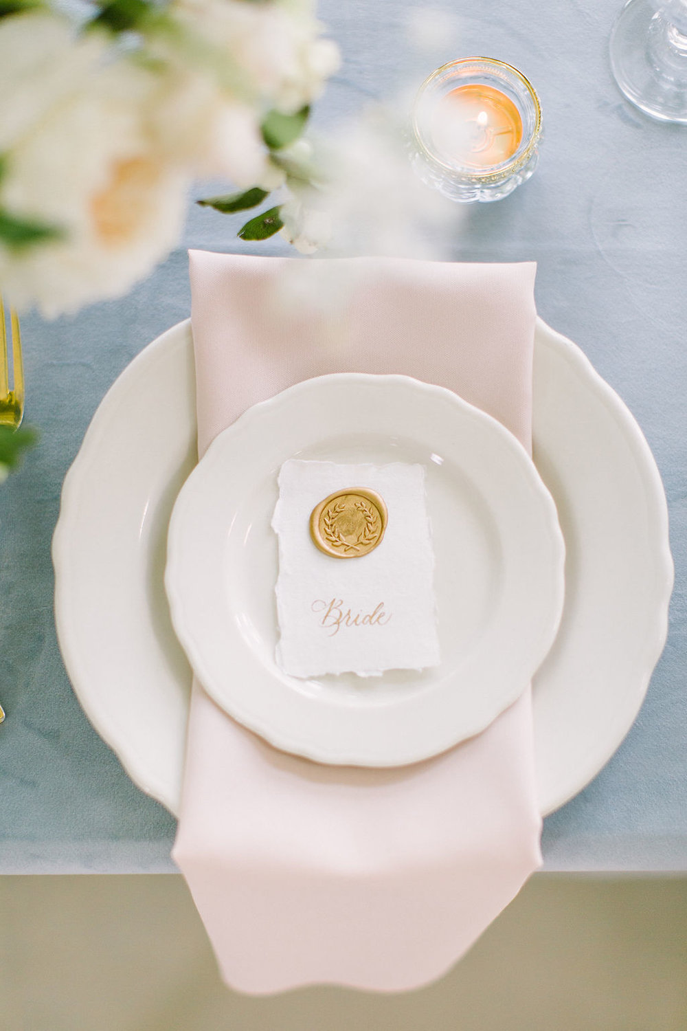 Place setting detail with calligraphy bride name card.  Photographed by Kate Elizabeth.  Styled by Shannon Ducker Events.