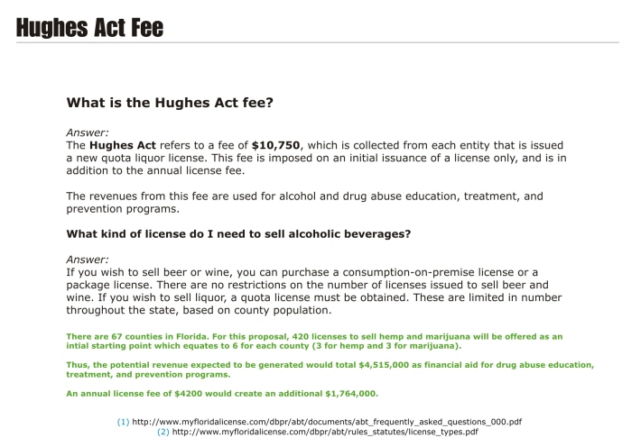 Hughes Act Fee