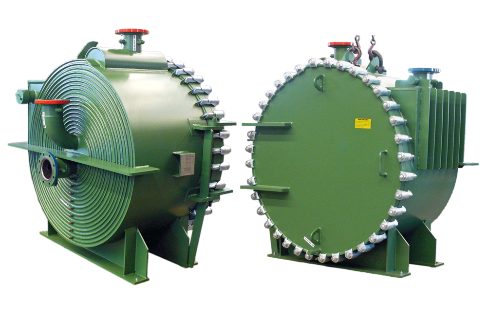 Sludge Spiral Heat Exchanger, Front & Back View