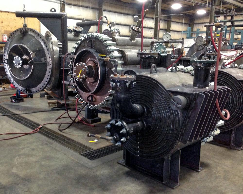 Various Spiral Heat Exchangers under Hydro