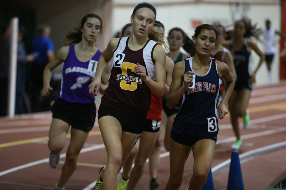 Kennedy Weisner en route to winning the NYRR Millrose Games Trials Invitational Mile.