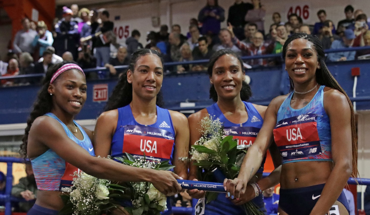 Women's 4x800 sets World Record: Chrishuna Williams, Charlene Lipsey, Ajee' Wilson and Raevyn Rogers.