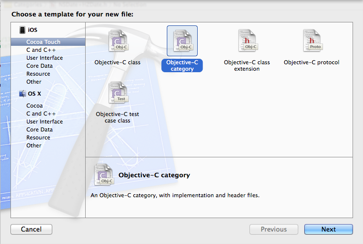 New Objective-C Category Dialog