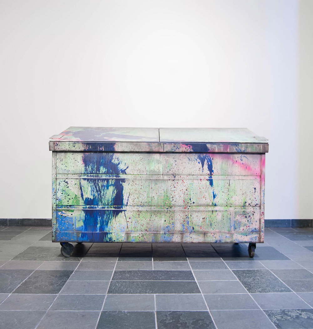Kaz Oshiro Dumpster, 2014 Acrylic on Stretched Canvas and Caster Wheels 78 x 48 x 36 inches