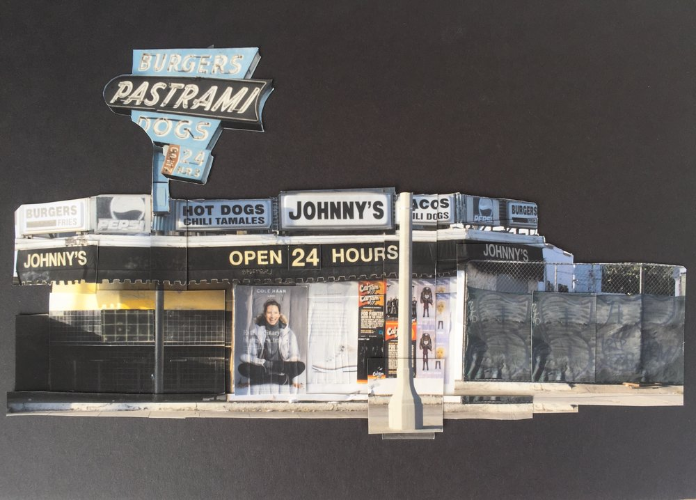 Lydia Pratt.  Johnny's Pastrami . 2017. Collage. Crossroads School for Art & Sciences.