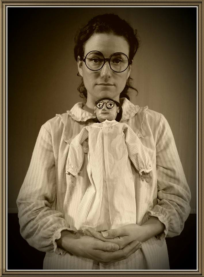 A final production photo of actress  Janna Rose Shields  and Sophie the puppet.