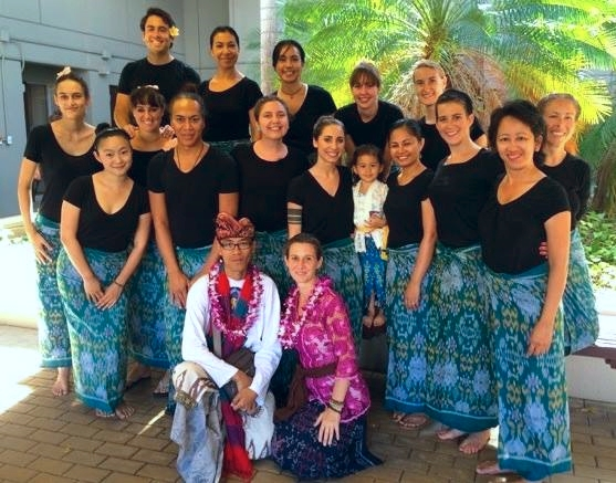The class gathering for the pau hana performance. Many students from both of Annie and Made's Balinese classes gathered to perform at this beautiful event.