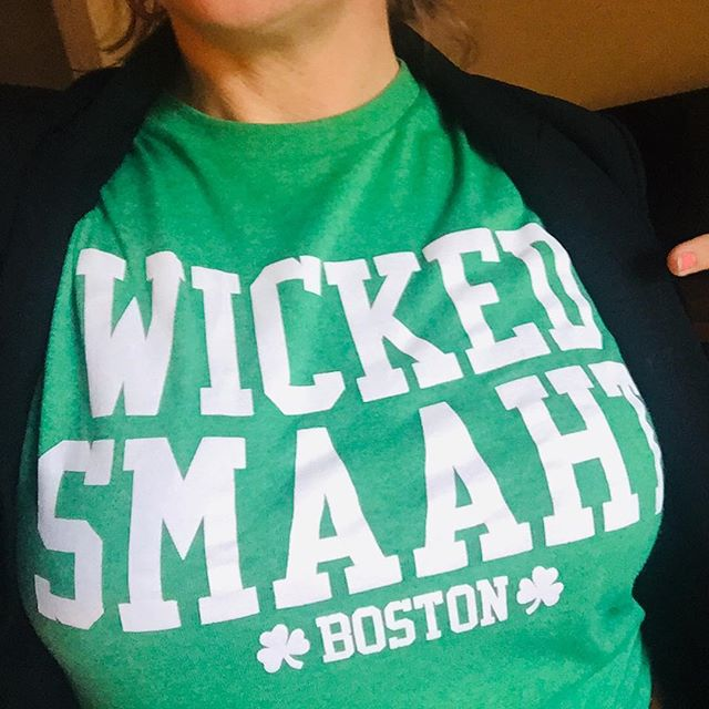 """#Workingmom #FBF post- This is the shirt I wore to APU last Friday. What do I, as an education professional, think it means to be 'wicked smaht'? To me, it means asking the right questions. As a mixed Irish/Latina American, I wonder, why the cartoon focus? (I mean, leprechauns are cute, but come on, guys.) Instead of whittling into a narrow definition of a distant past, what if Irish Americans looked outward and embraced what it could mean to be part of a larger process of advancement around the very things their ancestors found troubling: discrimination based on religion, ethnicity, or language?  Instead of just beer, how about St. Patrick's Day be about the bigger issues? What if instead of recalling stories of the 19th century, people recognized that today's Ireland is a dynamic, multi-ethnic republic? What if celebrations of Irish literature didn't stop at James Joyce but instead joyfully entered into a larger communion of ex-colonial English language writing that spans from Jamaica to Georgia to India to Arizona?  Irish Americans should embrace their immigrant past by allying with and supporting today's immigrant communities. As Irish actor Chris O'Dowd said of the Syrian refugee crisis, """"That was us once, guys."""" Irish Americans should be engaging in anti-racist cultural and educational work in all sectors, at all levels, all the time.  #professorgoulding #wickedsmaht #stpatricksday #writing #writinginstructor #feminist #pedagogy #ethnicstudies #postcolonial #literature #mixedamericans #highered #multiculturaled #learning #college"""