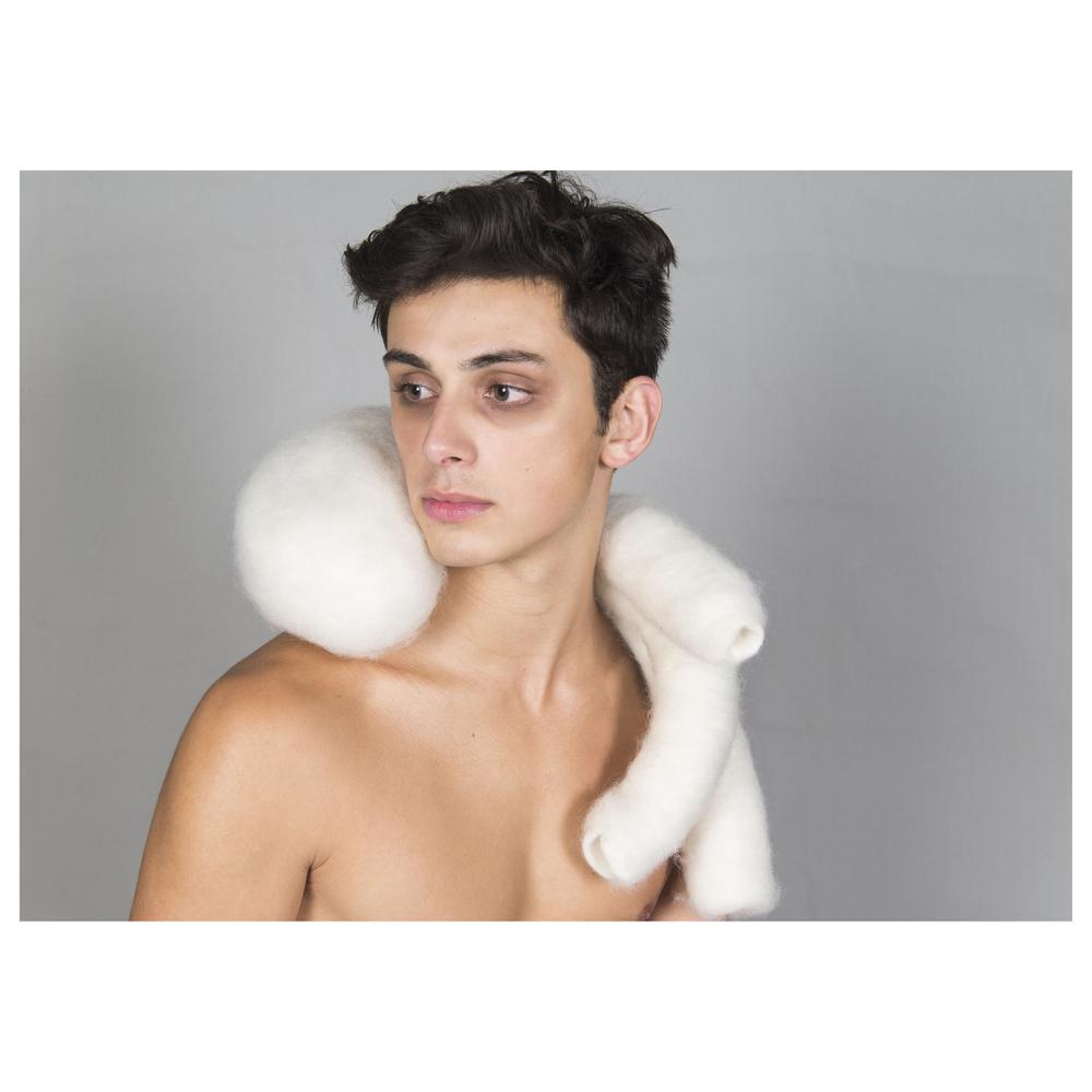 "Snug      16x16x4.5""      felted wool, polyester fiber, wool felt fabric, brass      2013"