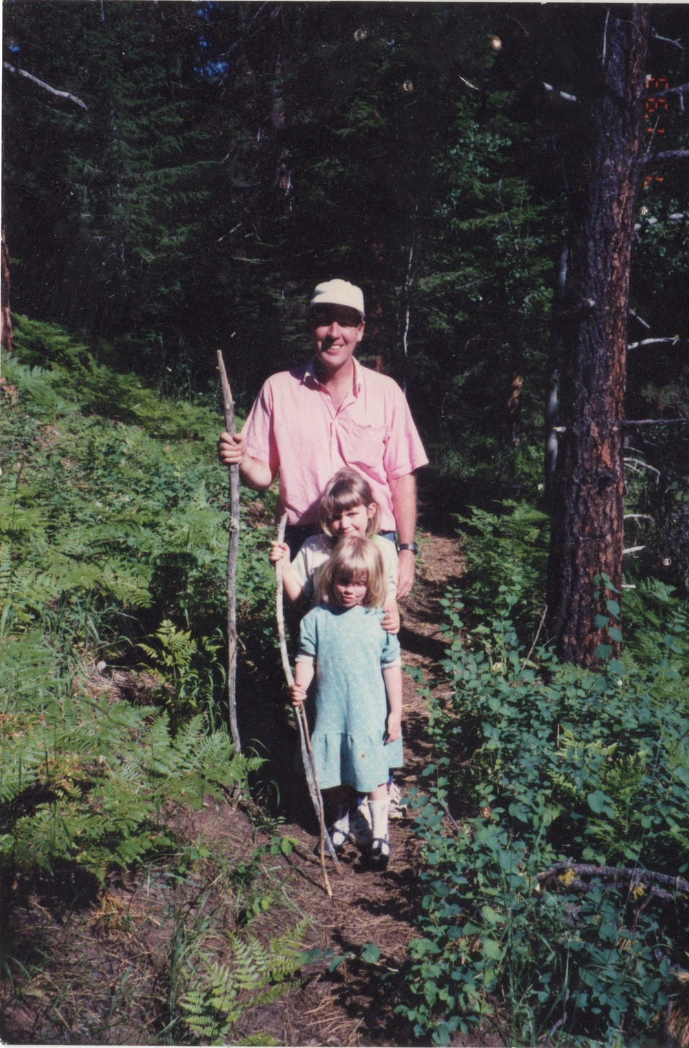 "Dad, Alexis, and Sophie, circa 1995. This was just before we saw a rattle snake, and just  after  Alexis was like, ""Yeah, I think I'll wear this sick drop-waist dress and patent black Mary Janes on this hike."""