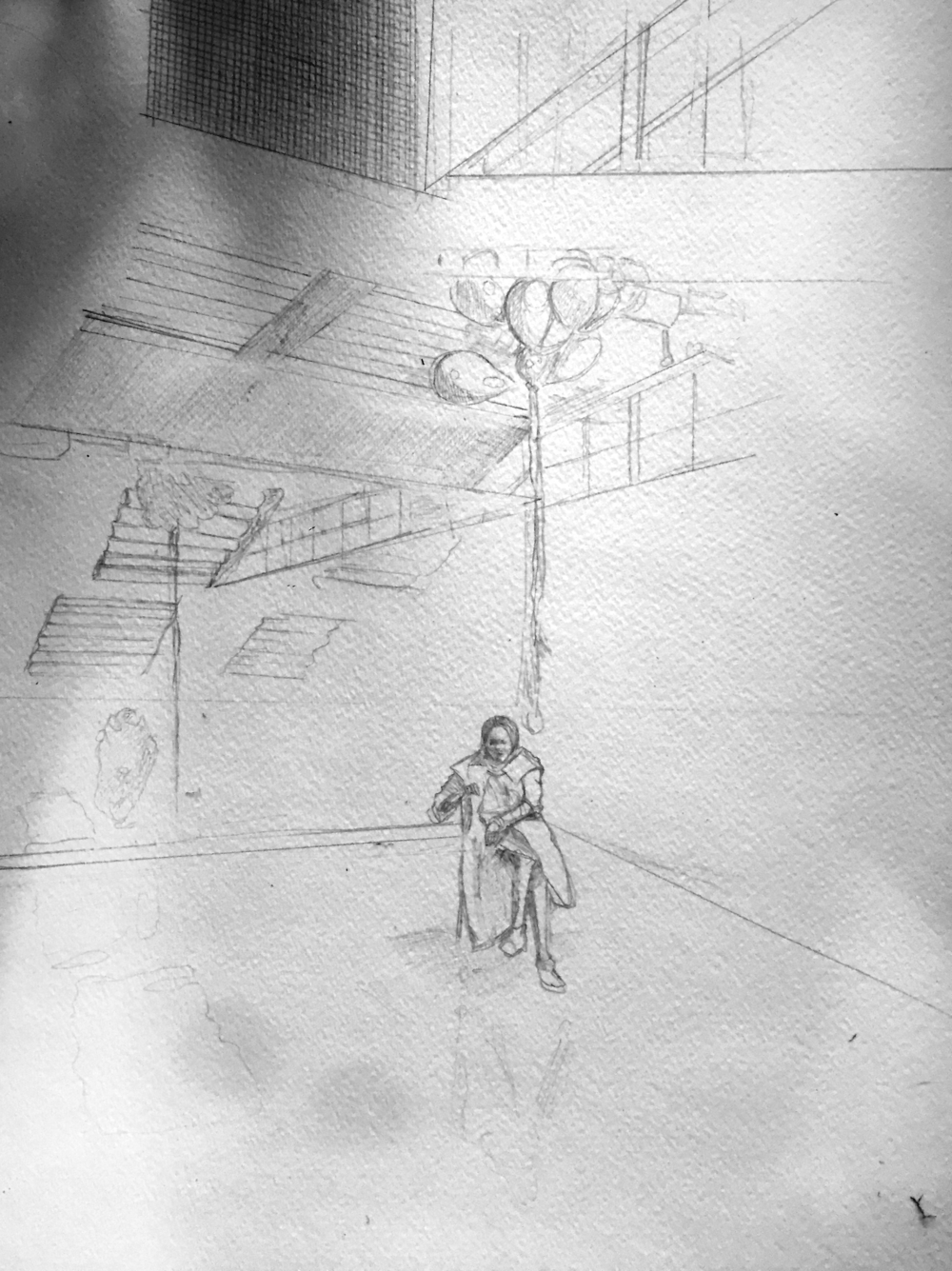"The basic pencil sketch. I never used to sketch anything in pencil, but Peggy MacNamara says the eraser is the most important tool an artist has. Then you get to do ""the fun stuff."""