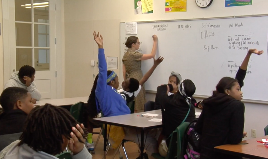 Photo of Sophie Lucido Johnson teaching middle school in New Orleans, courtesy of KidSmart.