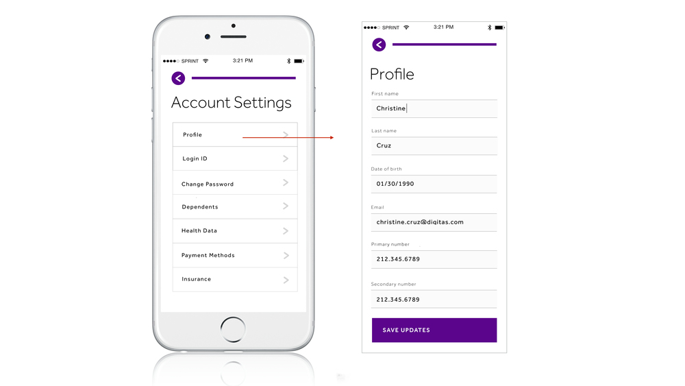 Simple profile settings