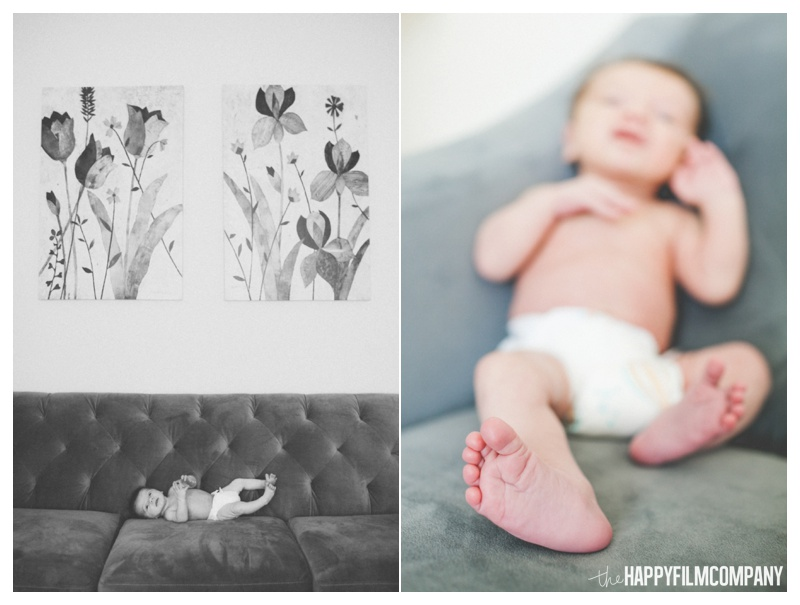baby on couch - the Happy Film Company - Seattle Newborn Photography