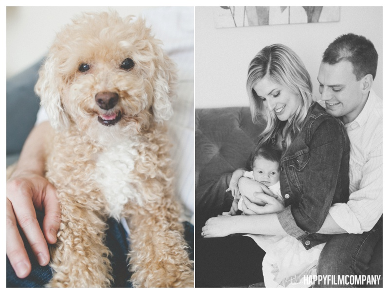 newborn photos with dog - the Happy Film Company - Seattle Newborn Photography