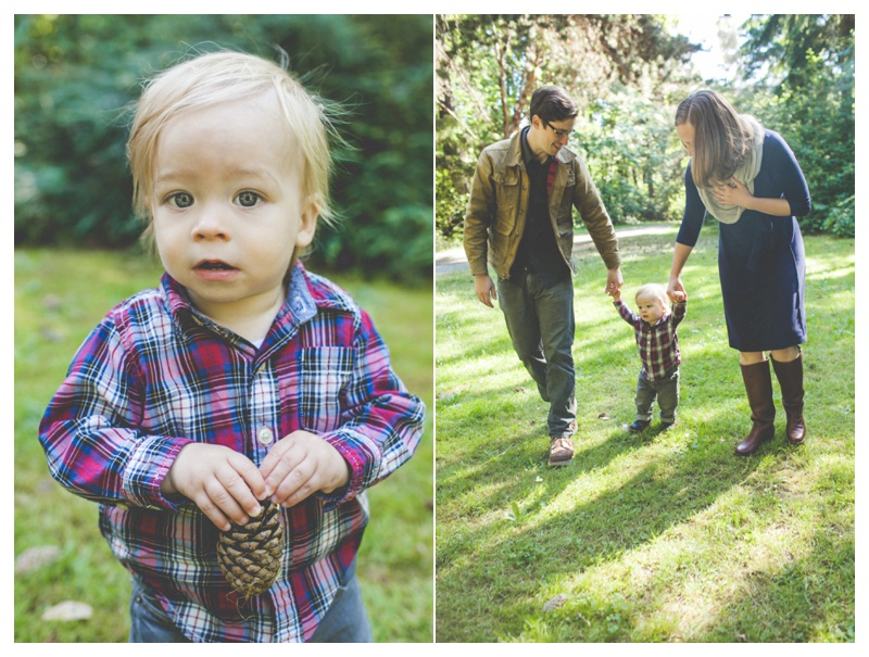 cute little boy with pinecone   - the Happy Film Company - Seattle Family Photographer