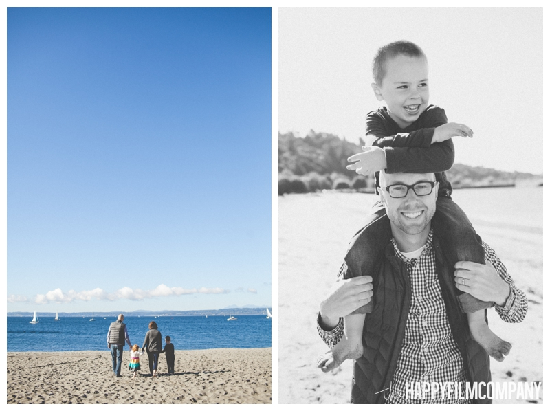 family walking on beach Seattle Family Photographer - Golden Gardens Beach Walk - the Happy Film Company