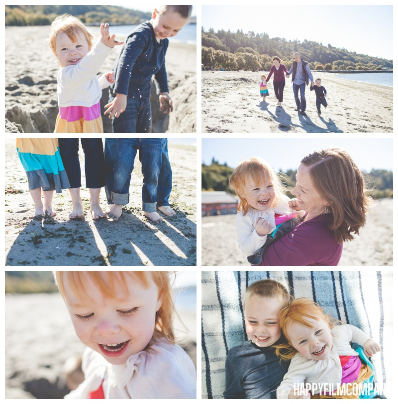 family playing at beach Seattle Family Photographer - Golden Gardens Beach Walk - the Happy Film Company