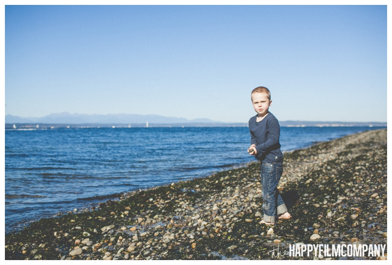 boy playing at beach - blue sky portrait Seattle Family Photographer - Golden Gardens Beach Walk - the Happy Film Company