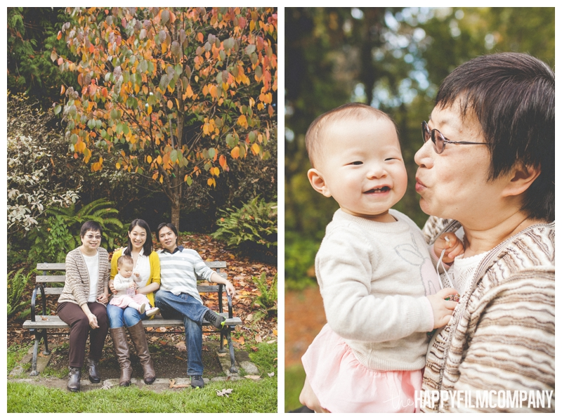 family photos on bench with grandma  - Colorful Leaves Seattle Autumn Family Photos at Washington Park Arboretum - the Happy Film Company