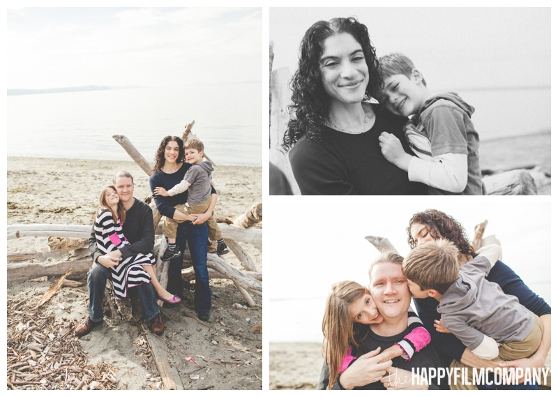 cuddling family photos on the beach  – Playful Golden Gardens Beach Walk — Seattle Family Holiday Pictures