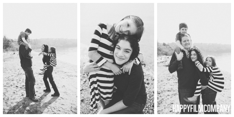 black and white family beach portraits  – Playful Golden Gardens Beach Walk — Seattle Family Holiday Pictures