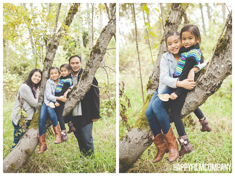 family sitting in tree  - Seattle Autumn Family Photos — Playing in the Leaves at Black River Riparian Forest and Wetland - the Happy Film Company