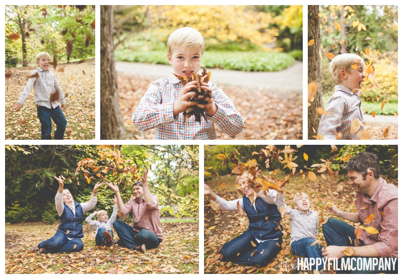 family playing in the leaves for photo shoot  - the Happy Film Company - Seattle family holiday photo shoots - Arboretum