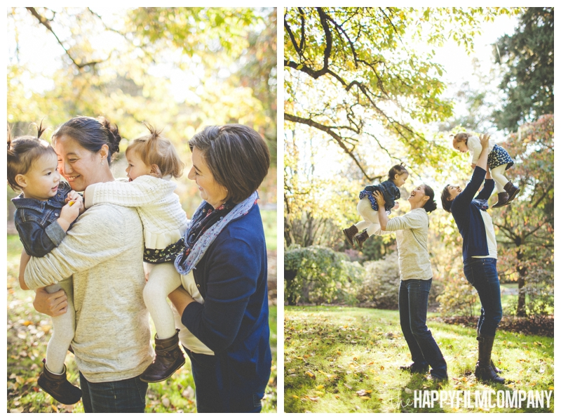 moms throwing kids in the air  - the Happy Film Company - Seattle Family Photography - Arboretum
