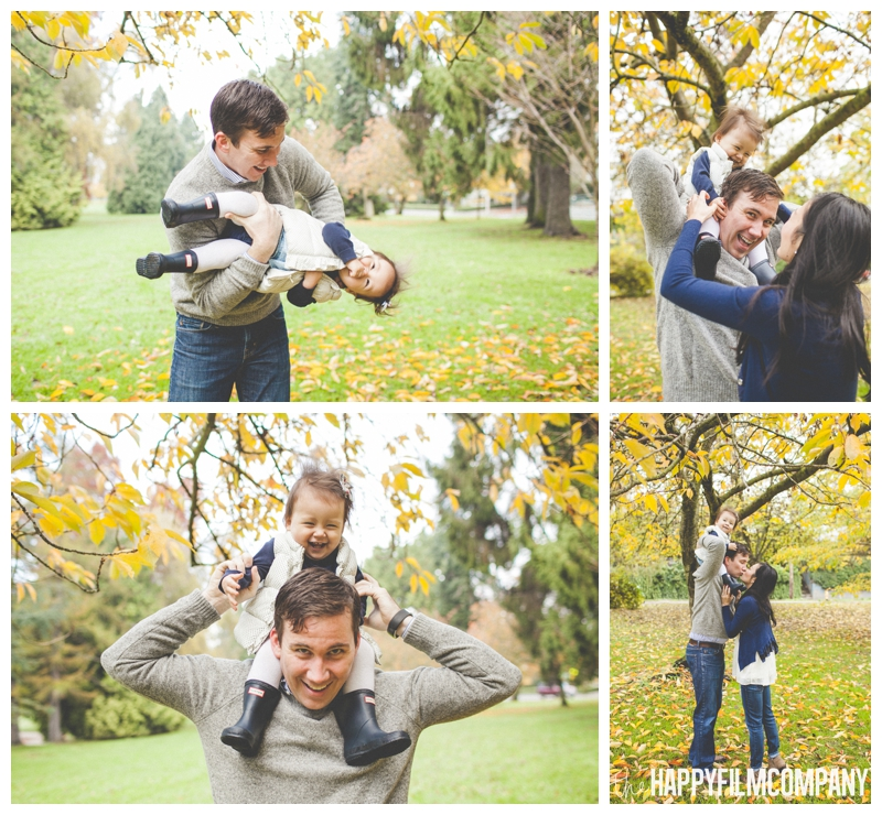 dad carrying daughter on shoulders  - the Happy Film COmpany - Greenlake Park Seattle Family HOliday Photos